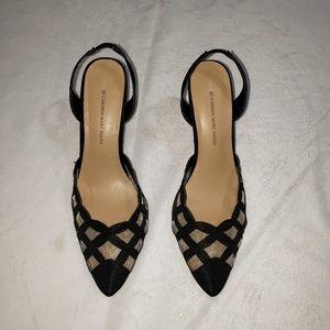 Carmen Marc Valvo Luxe black mesh dress heels